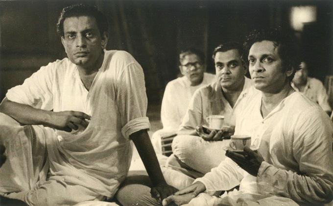 Satyajit Ray with Ravi Sankar recording for Pather Panchali